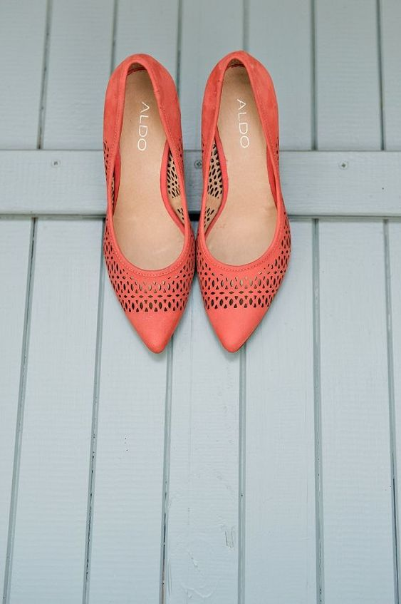 laser cut coral wedding shoes are great to finish off a summer or spring wedding outfit
