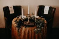 moody sweetheart table decor