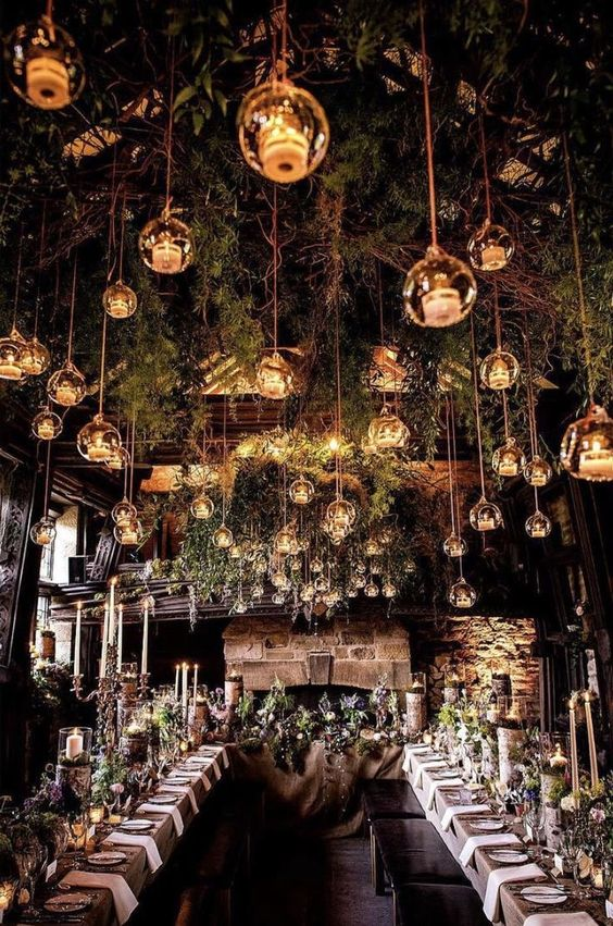 an enchanted forest wedding reception space looks very charming