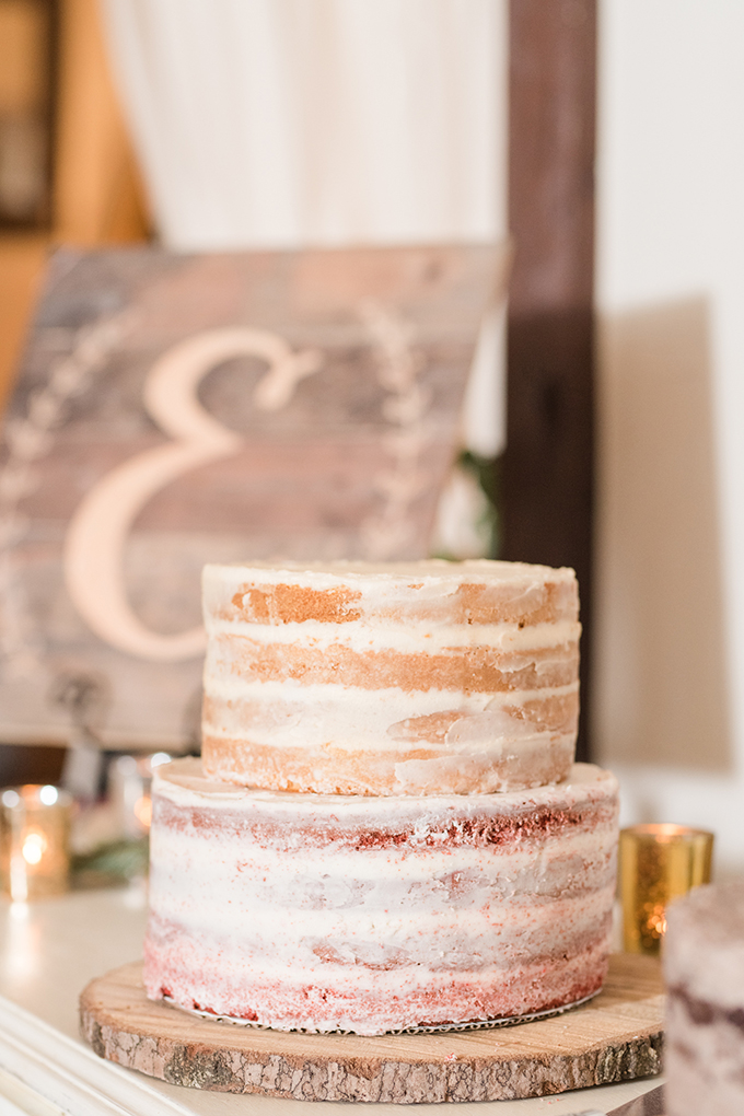 The wedding cake was a naked one, with two different tiers