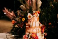 delicious wedding cake with dippings
