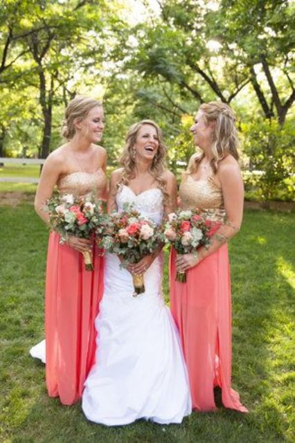 gorgeous bridesmaid separates with gold glitter strapless tops and coral maxi skirts with side slits