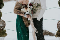 15 casual outfits – an emerald strapless wedding dress plus a faux fur stole and black pants with a creamy shirt and sweater over it