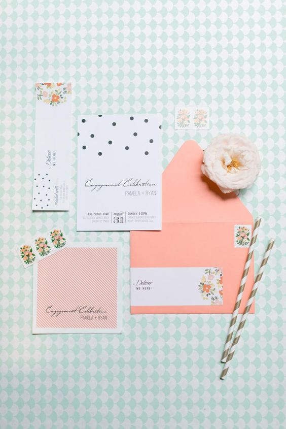 a modern fun wedding invitation suite with florals, polka dots and coral touches for your wedding