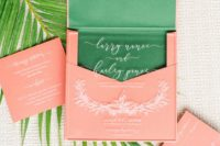 18 a bold invitation suite done in coral, bold green and white calligraphy is a cool idea for tropical weddings