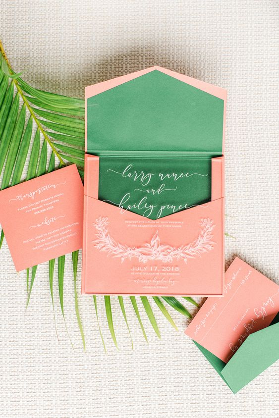 a bold invitation suite done in coral, bold green and white calligraphy is a cool idea for tropical weddings