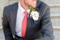 20 a cool groom's outfit with a grey suit, a white shirt and a coral tie plus a white bloom boutonniere for a summer wedding