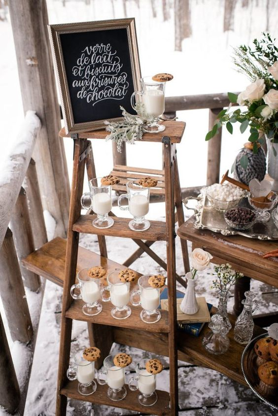 a milk and cookie station is a great idea for a hygge wedding in any season