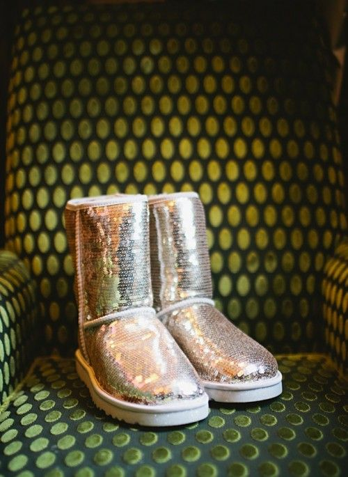 silver sequin ugg boots is a trendy and shiny idea to wear for a winter wedding