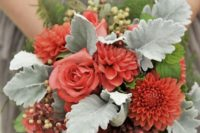 22 a bold bridesmaid bouquet with berries, pale greenery and coral blooms is a great idea to rock