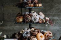 22 donuts are a trendy idea for wedding desserts and you may serve them at your wedding instead of a wedding cake