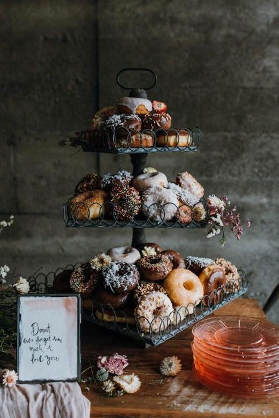donuts are a trendy idea for wedding desserts and you may serve them at your wedding instead of a wedding cake