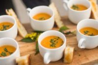 23 tomato soup is a very comforting and tasty food option for a hygge wedding, serve it with toasts