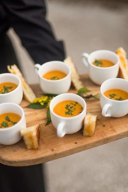 tomato soup is a very comforting and tasty food option for a hygge wedding, serve it with toasts