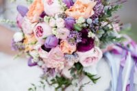24 a beautiful wedding bouquet in blush, lilac, purple and coral plus herbs and greenery is a tender idea