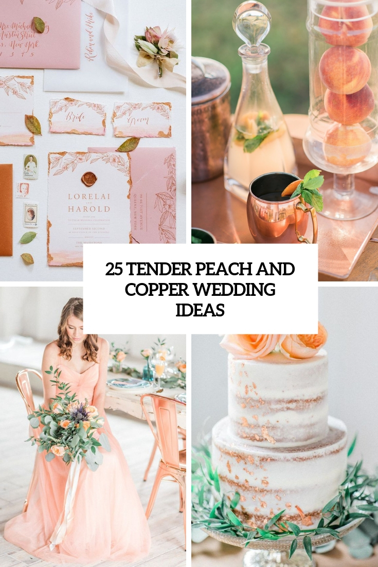 tender peach and copper wedding ideas cover