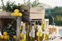 26 an olive oil bar is a great food station for a Mediterranean wedding, it's unusual yet very characteristic for such a wedding