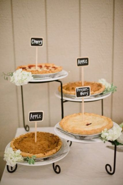 go for several wedding pies instead of a usual wedding cake