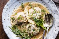 26 mushroom cheese ravioli with thyme, rosemary, garlic and parsley are a cool vegetarian option