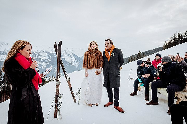 This couple went for a mountain top wedding in Austria as skis are their love and they enjoy winter