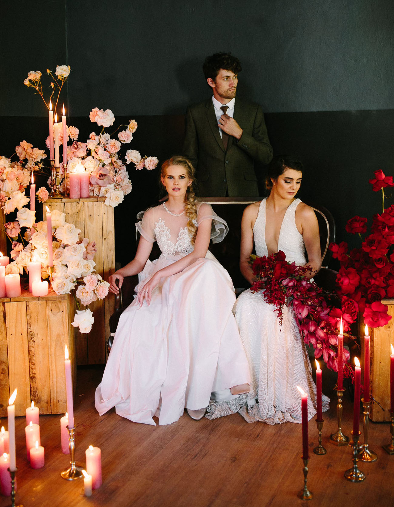 This luxe moody meets modern wedding shoot is inspired by the winter holidays and features a non traditional color palette