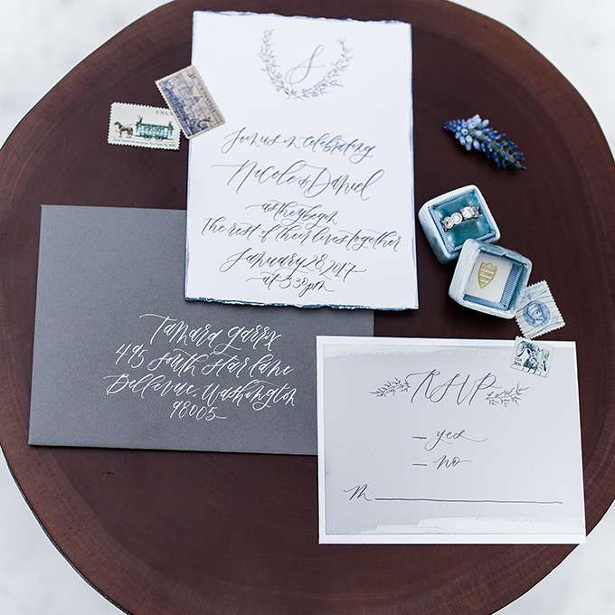 wedding stationary for a winter wedding