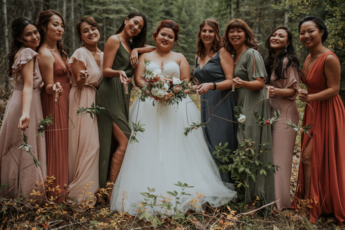This wedding was a late summer one in the mountains, boho meets modern with earthy tones