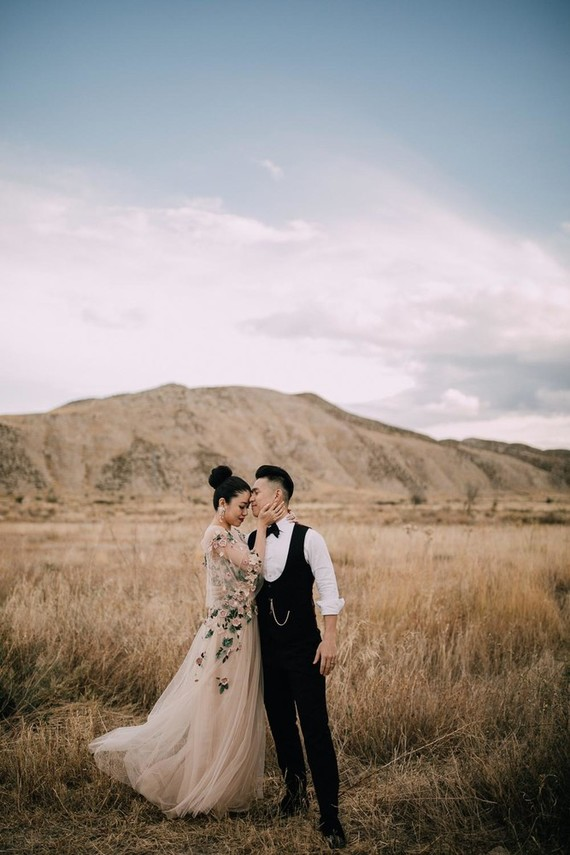 The couple went for some portraits before the wedding, the bride was rocking a blush gown withfloral embroidery and the groom was rocking a vintage-inspired outfit