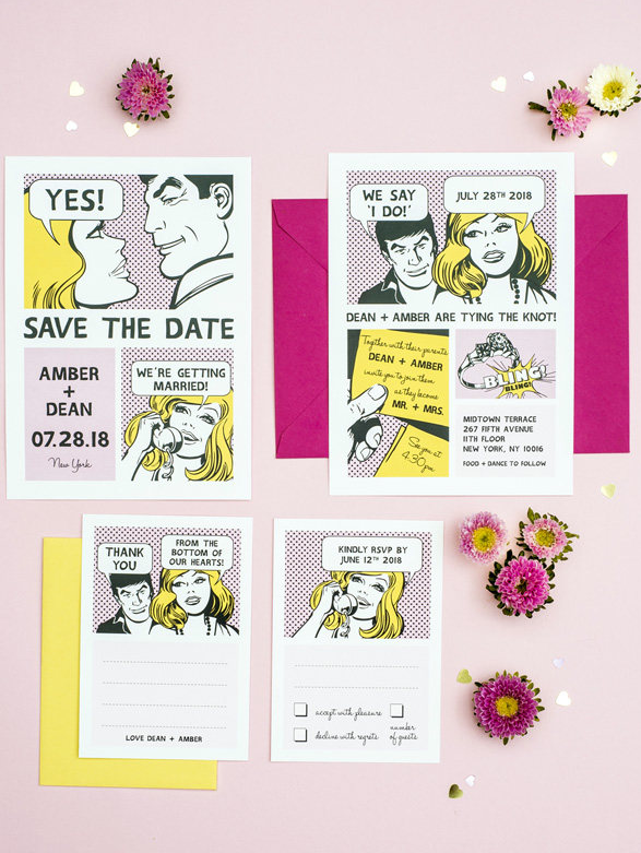a wedding invitation suite done as comics strips is a very customized and personalized idea
