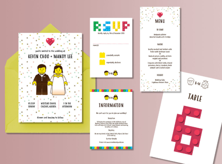a whole colorful and fun wedding invitation suite for LEGO loving couples