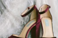 03 plum-colored velvet heels with ankle straps are ideal for a jewel-tone or fall wedding