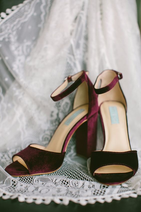 plum-colored velvet heels with ankle straps are ideal for a jewel-tone or fall wedding