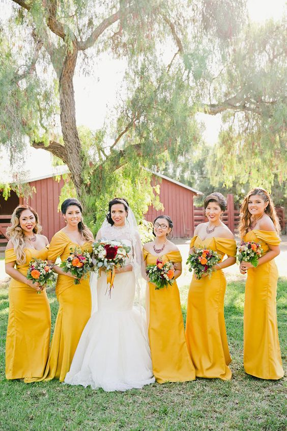 sunny yellow off the shoulder maxi bridesmaid dresses with drapings