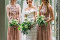 05 The bridesmaids were rocking blush maxi dresses with floral embroidery