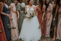 05 The bridesmaids were rocking mismatching earthy tone maxi gowns