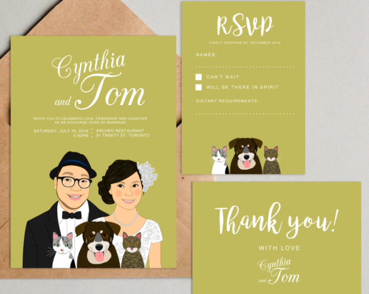 a colorful illustrated wedding invitation suite with a couple's portrait and their pets