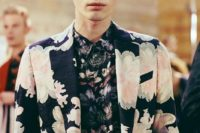 05 a moody floral suit and a moody floral shirt with a different print yet in the same colors
