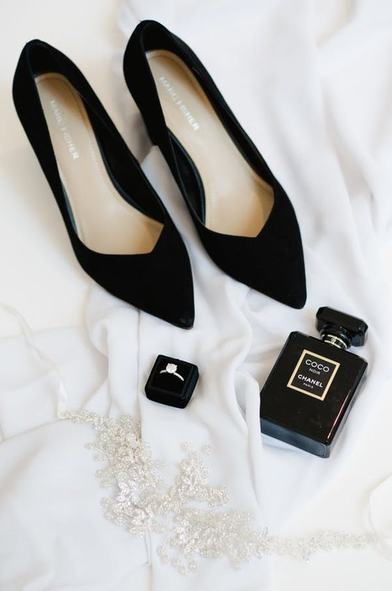 black velvet shoes are classics and you will be able to wear them often after the wedding, too