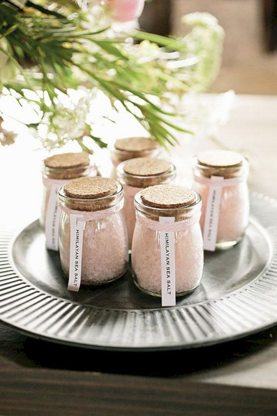 Himalalyan salt is a healthy and cool idea, this is a functional wedding favor