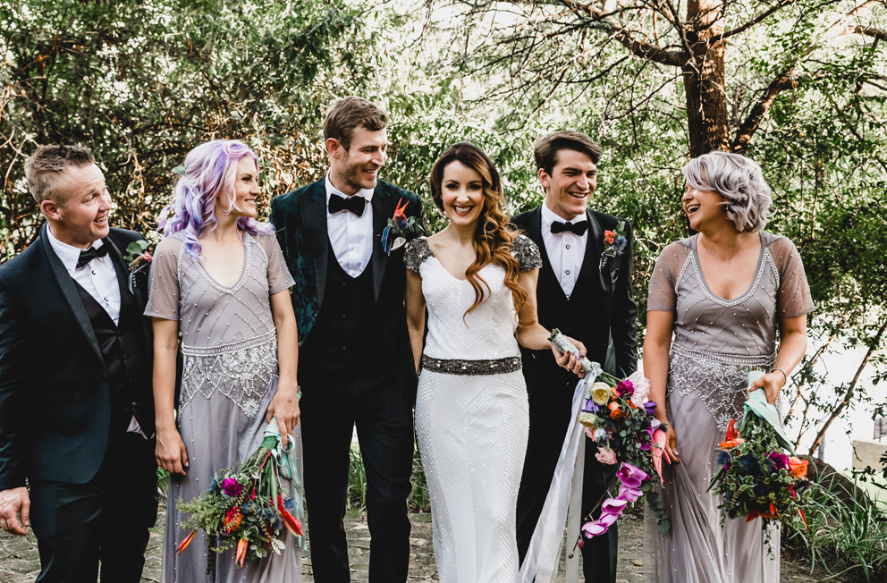 bridesmaids rocking lilac outfits