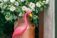 06 Those milk churns are heirloom, flamingos were added for a touch of fun
