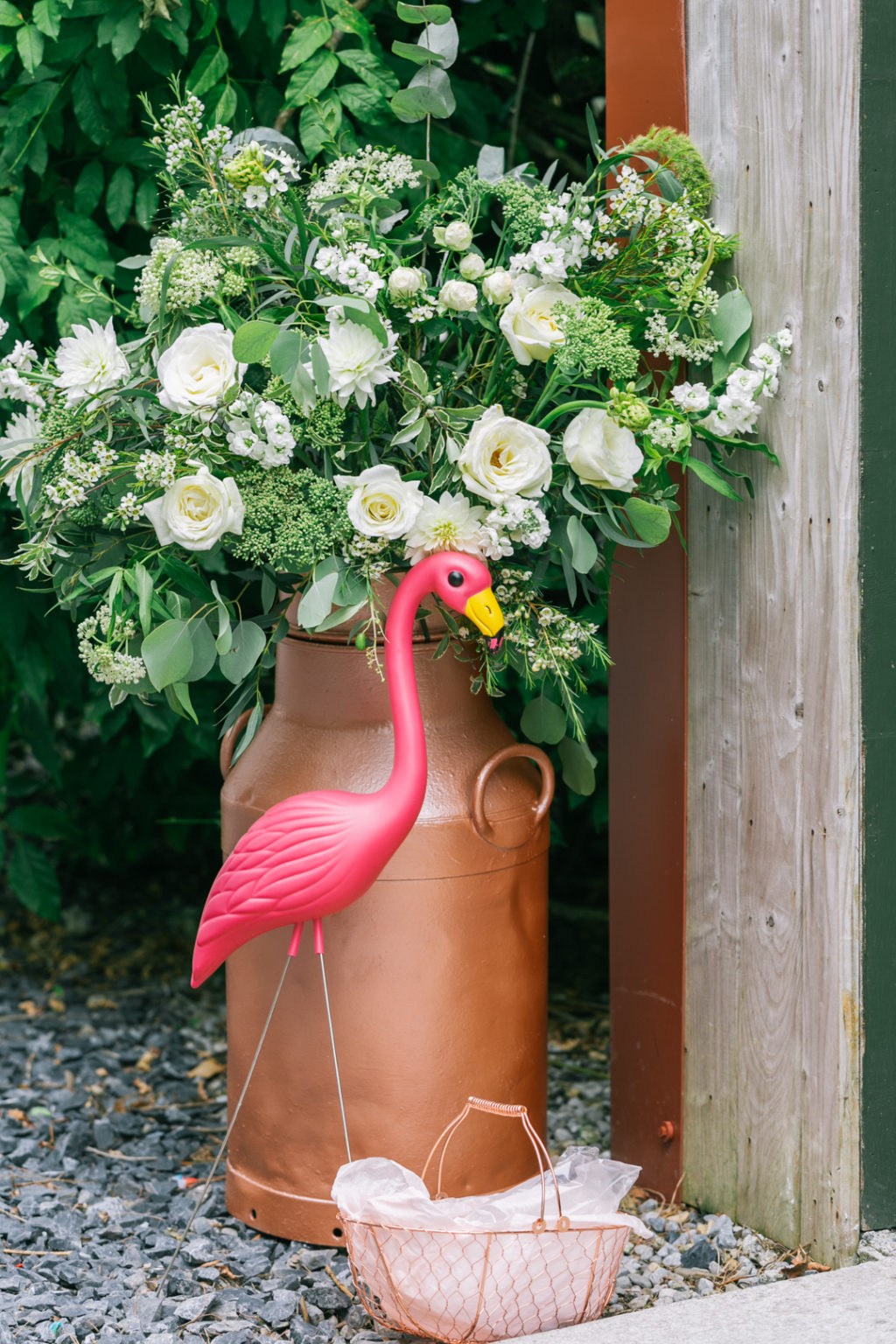 Those milk churns are heirloom, flamingos were added for a touch of fun