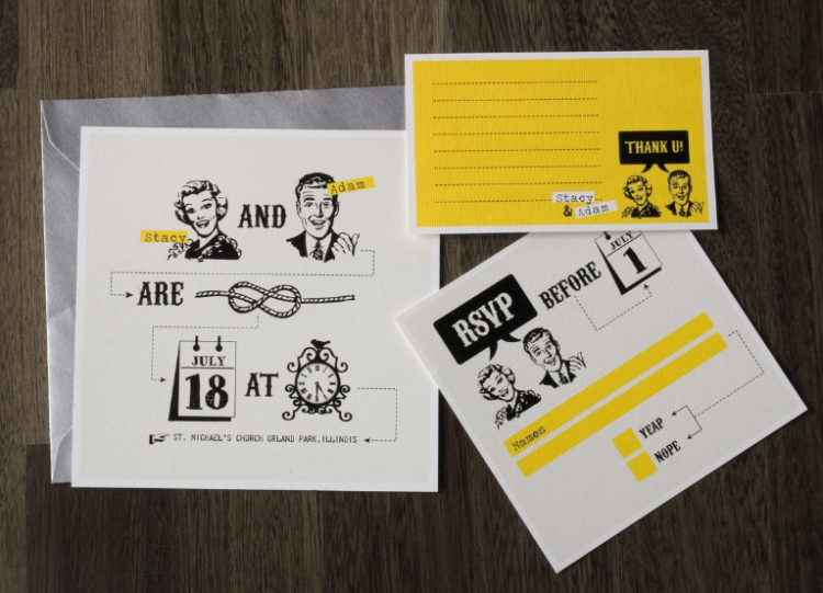 a colorful retro-inspired wedding invitation suite in black, white and yellow