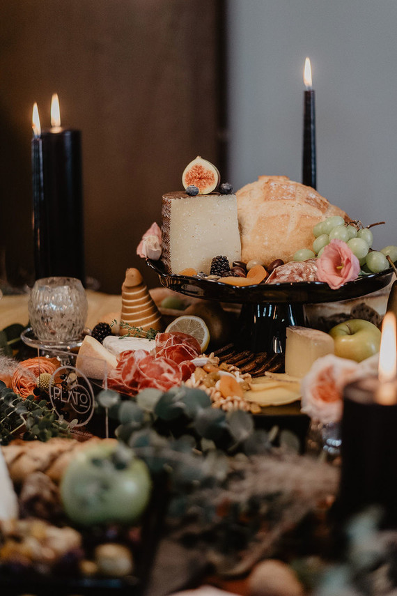 Grazing tables are a hot wedding trend, and such a table was styled for the shoot, too