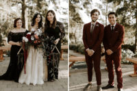07 The bridesmaids were wearing black lace mismatching maxi gowns, and the groomsmen were wearing burgundy suits and grey shoes