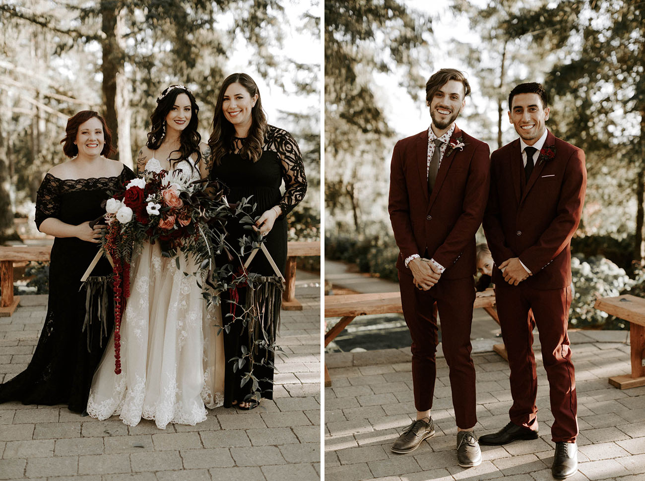 The bridesmaids were wearing black lace mismatching maxi gowns, and the groomsmen were wearing burgundy suits and grey shoes
