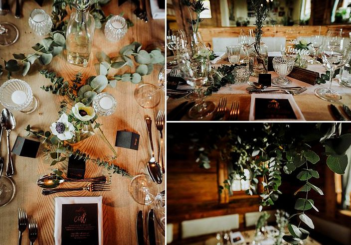 fresh eucalyptus as decor for a winter wedding