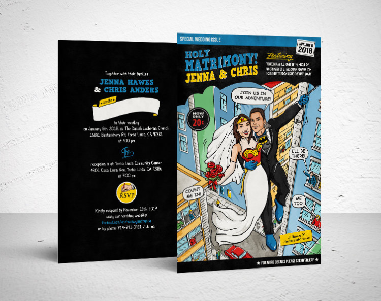a colorful wedding invitation for a super hero themed wedding