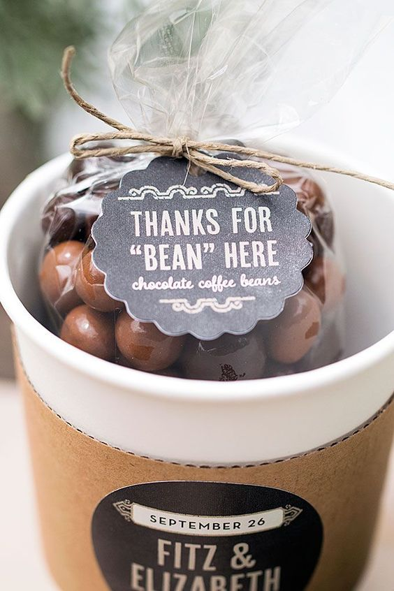chocolate covered coffee beans are a budget-friendly and fun favor for a brunch wedding