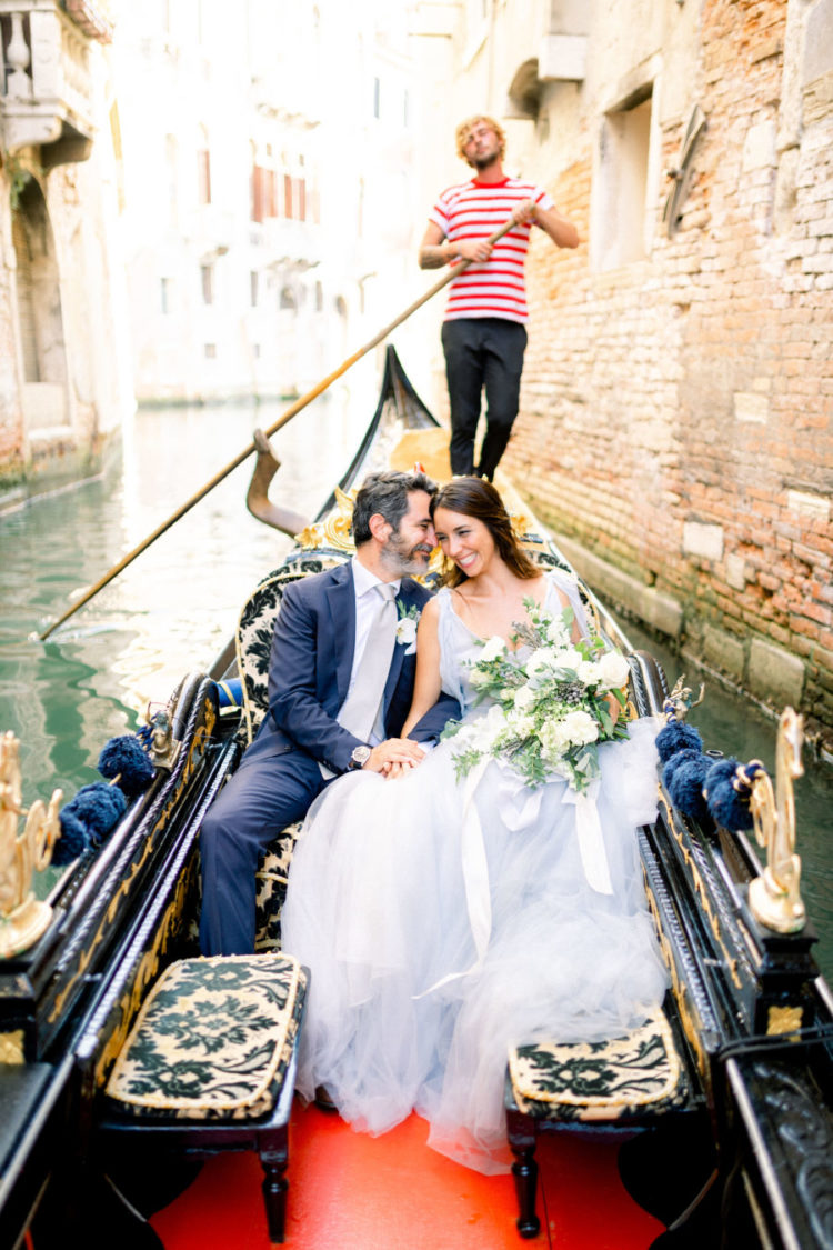The couple went for a ride in one of those famous gondolas